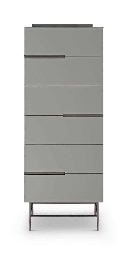 Six Drawer Tall Narrow Chest Grey