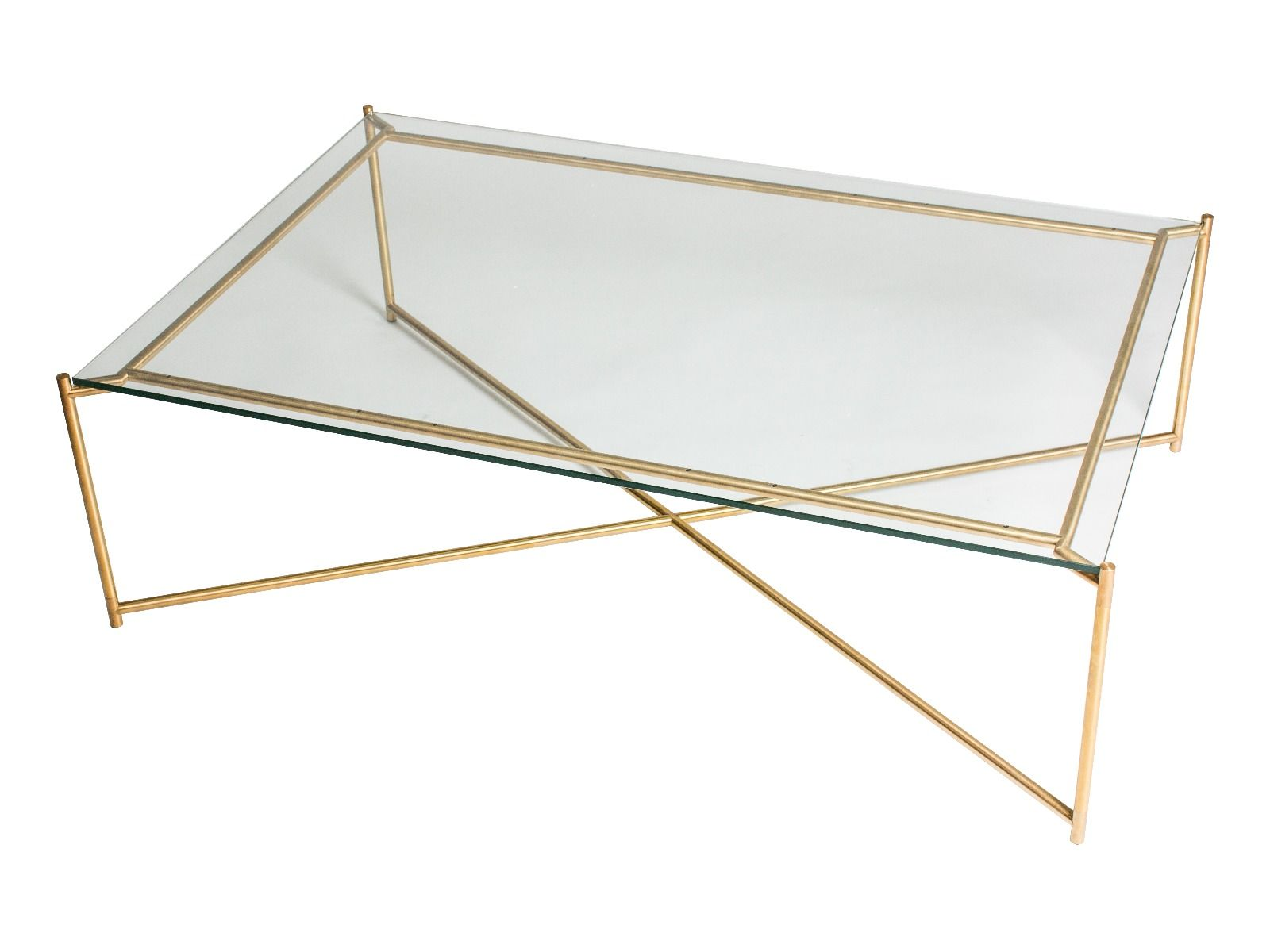 Rectangle Coffee Table CLEAR GLASS With BRASS FRAME By Gillmore