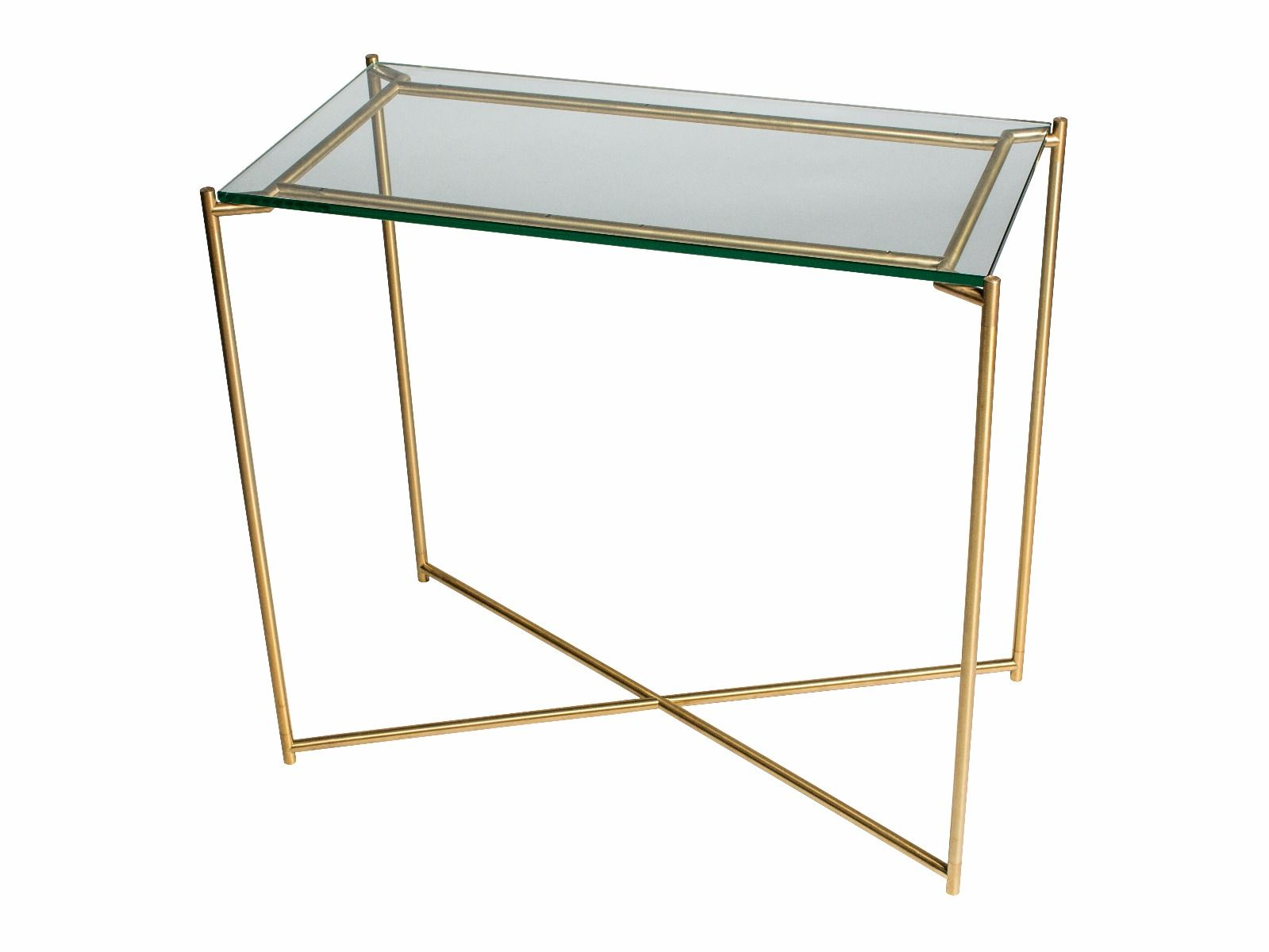 Small console table clear glass with brass frame by gillmore space