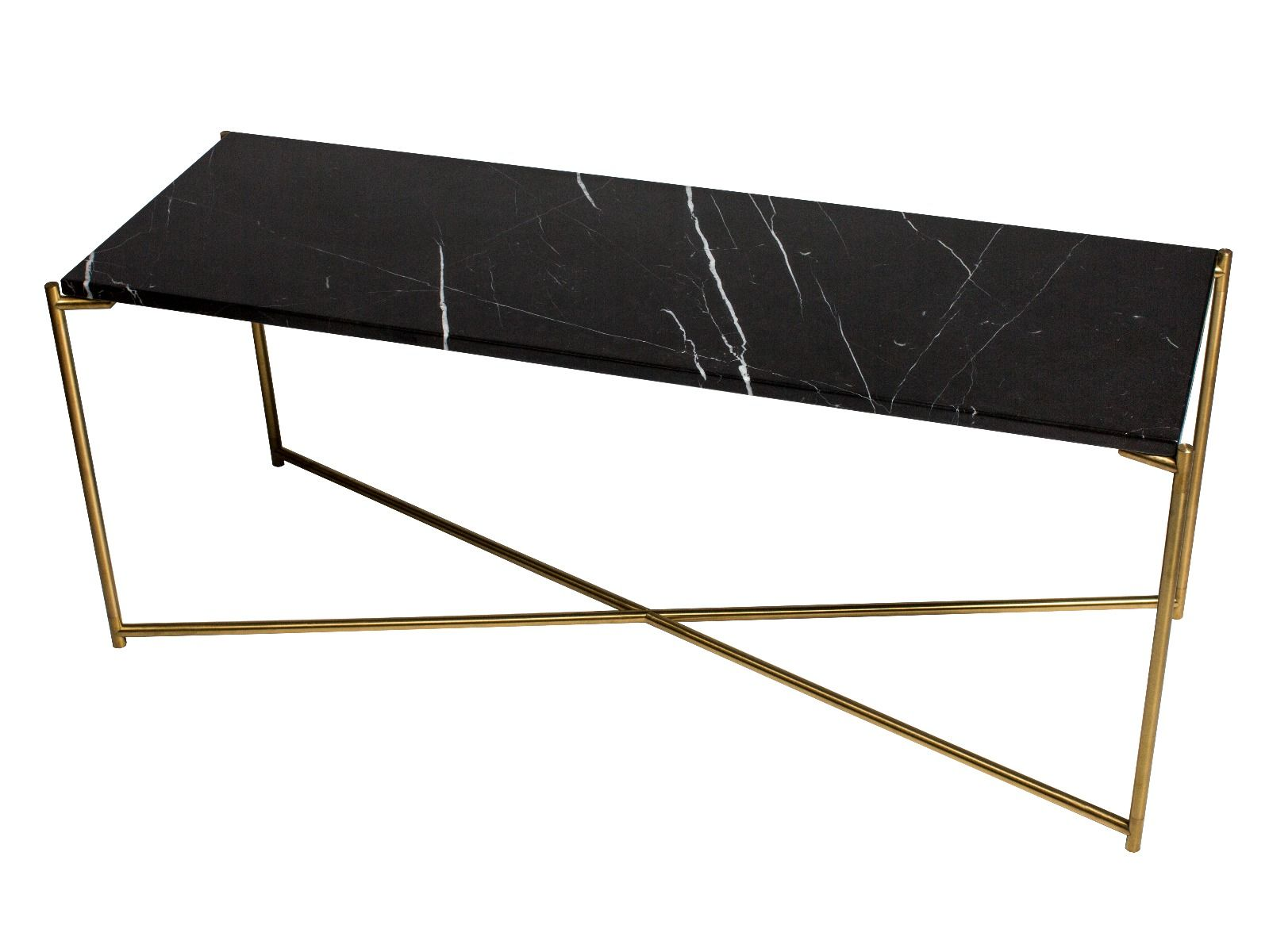 Large low console table black marble with brass frame by gillmore space