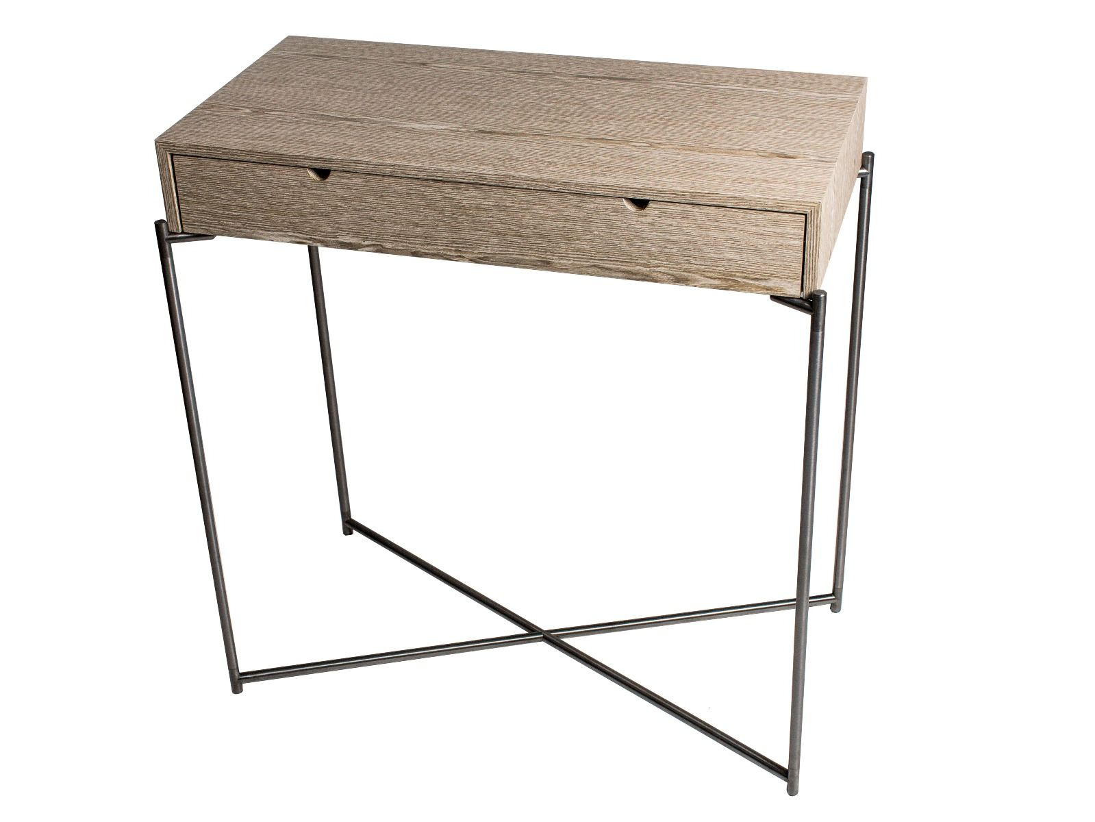 Small Console Table With Drawer Top In Weathered Oak With Gun Metal