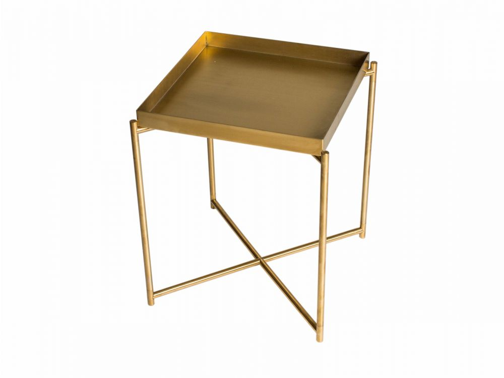 Square tray top side table BRASS top with BRASS FRAME