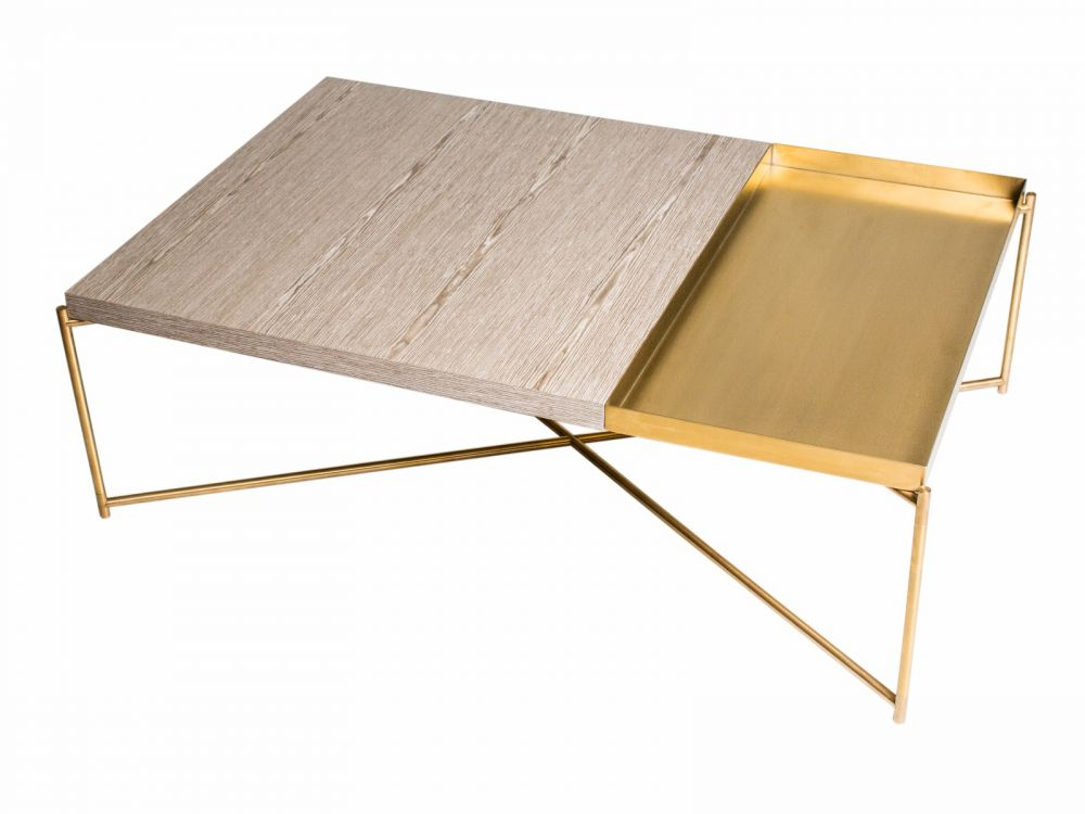 Rectangle coffee table WEATHERED OAK with BRASS TRAY and BRASS FRAME