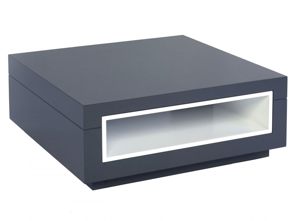Square coffee table - Savoye GRAPHITE with WHITE accent