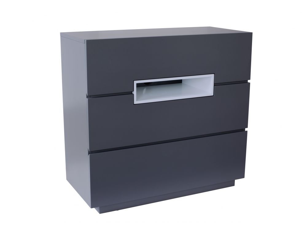 Three drawer chest - Savoye GRAPHITE with WHITE accent