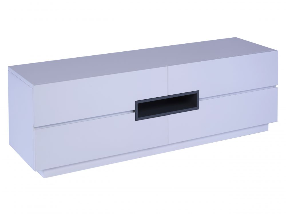 Low TV sideboard - Savoye WHITE with GRAPHITE accent
