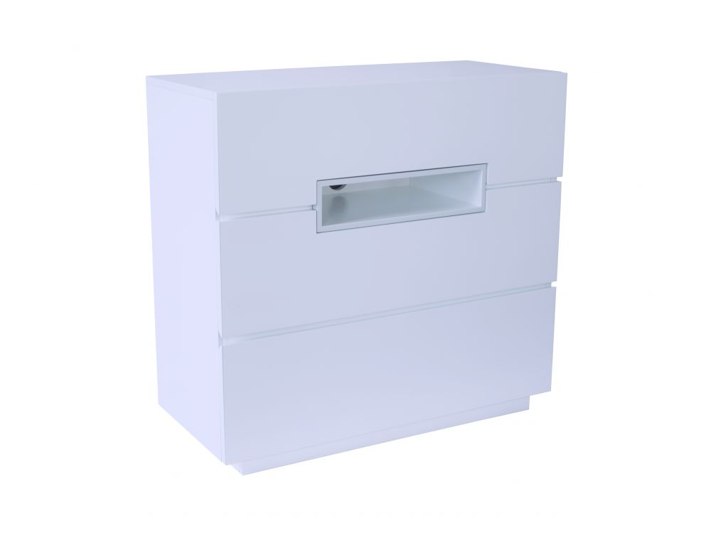 Three drawer chest - Savoye WHITE with WHITE accent