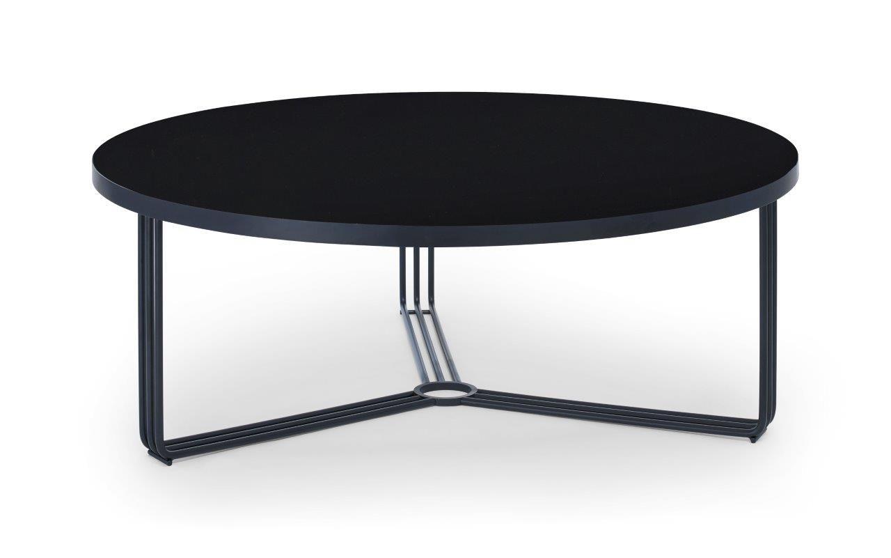 Large Circular Coffee Table Black Glass Top Black Frame