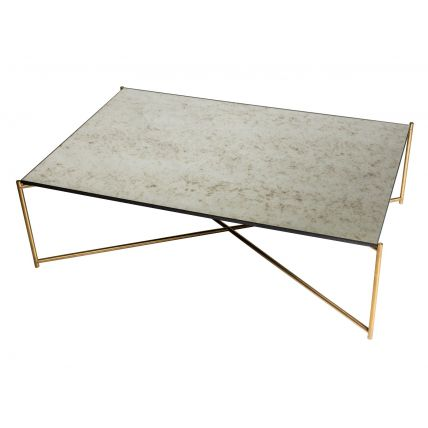 Rectangle coffee table ANTIQUED GLASS with BRASS FRAME  by Gillmore Space