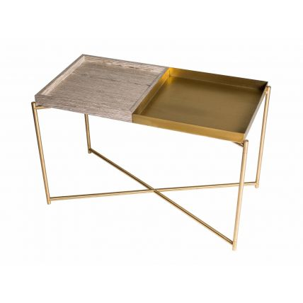 Rectangle tray top side table WEATHERED OAK & BRASS TRAYS with BRASS FRAME  by Gillmore