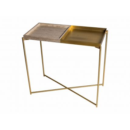 Small console table tray tops of WEATHERED OAK & BRASS with BRASS FRAME  by Gillmore Space