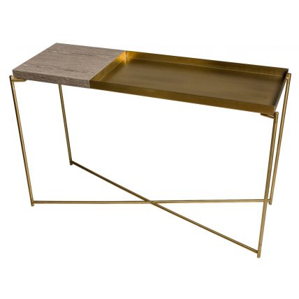 Large Console table with small WEATHERED OAK top and large BRASS tray with BRASS FRAME  by Gillmore Space