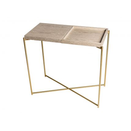 Small Console table WEATHERED OAK TOP & TRAY with BRASS FRAME  by Gillmore Space
