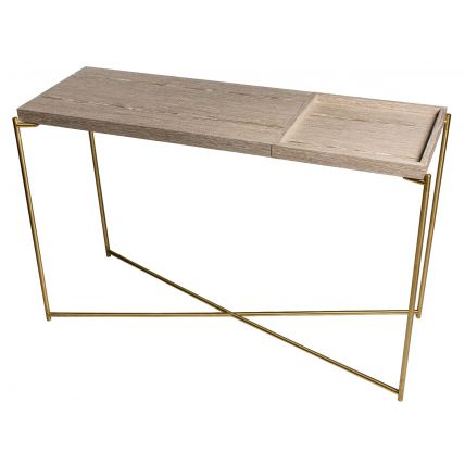Large Console table WEATHERED OAK TOP & SMALL TRAY with BRASS FRAME  by Gillmore Space