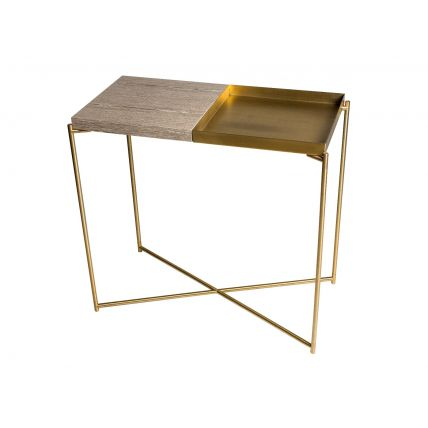 Small Console table WEATHERED OAK TOP & BRASS TRAY with BRASS FRAME  by Gillmore Space