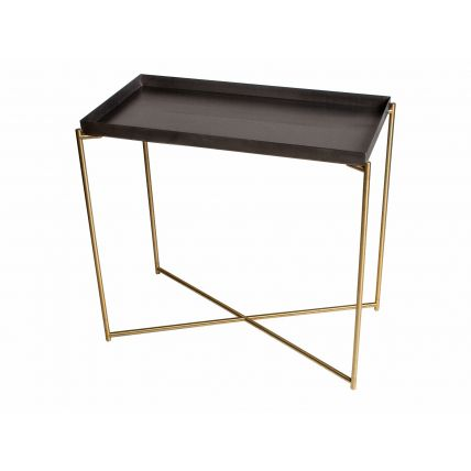 Small Console table tray top GUN METAL with BRASS FRAME  by Gillmore Space