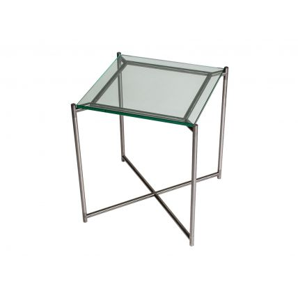 Square side table CLEAR GLASS with GUN METAL FRAME  by Gillmore Space