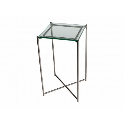 Square plant stand CLEAR GLASS with GUN METAL FRAME by Gillmore Space
