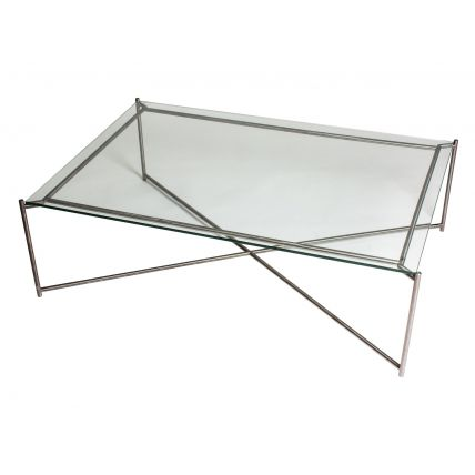 Rectangle coffee table CLEAR GLASS with GUN METAL FRAME  by Gillmore Space