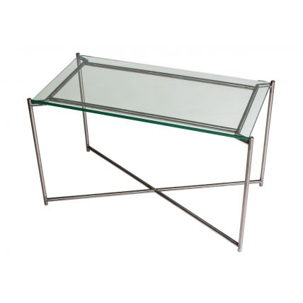 Rectangle side table CLEAR GLASS with GUN METAL FRAME  by Gillmore Space