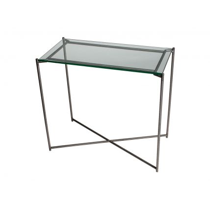 Small Console table CLEAR GLASS with GUN METAL FRAME  by Gillmore Space