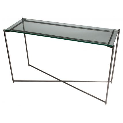 Large Console table CLEAR GLASS with GUN METAL FRAME  by Gillmore Space