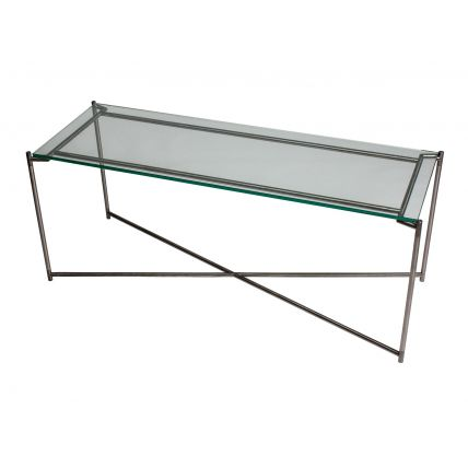 Large low Console table CLEAR GLASS with GUN METAL FRAME  by Gillmore Space