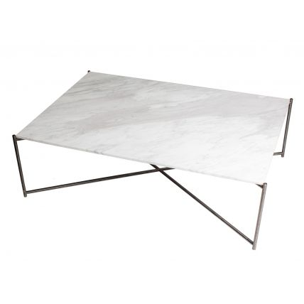 Rectangle coffee table WHITE MARBLE with GUN METAL FRAME  by Gillmore Space