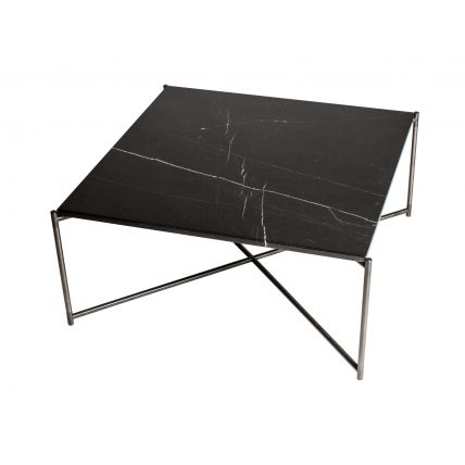Square coffee table BLACK MARBLE with GUN METAL FRAME  by Gillmore Space