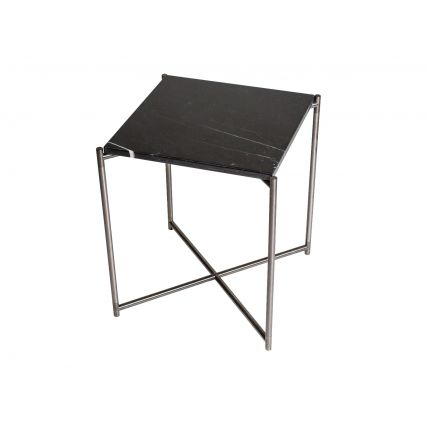 Square side table BLACK MARBLE with GUN METAL FRAME  by Gillmore Space