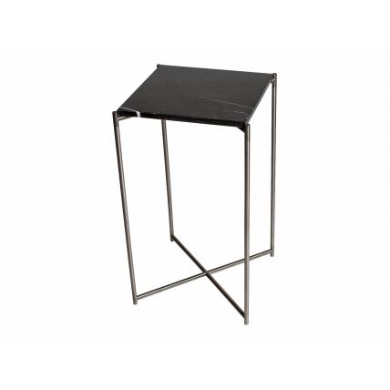 Square plant stand BLACK MARBLE with GUN METAL FRAME by Gillmore Space