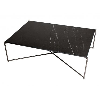 Rectangle coffee table BLACK MARBLE with GUN METAL FRAME  by Gillmore Space