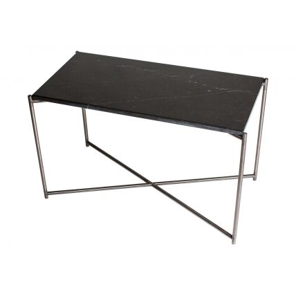 Rectangle side table BLACK MARBLE with GUN METAL FRAME  by Gillmore