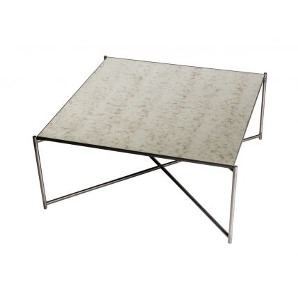 Square coffee table ANTIQUED GLASS with GUN METAL FRAME  by Gillmore Space