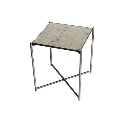 Square side table ANTIQUED GLASS with GUN METAL FRAME  by Gillmore