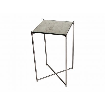 Square plant stand ANTIQUED GLASS with GUN METAL FRAME by Gillmore