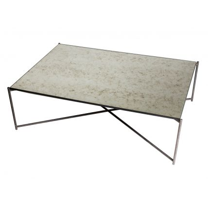 Rectangle coffee table ANTIQUED GLASS with GUN METAL FRAME  by Gillmore Space