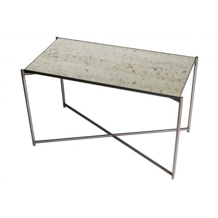 Rectangle side table ANTIQUED GLASS with GUN METAL FRAME  by Gillmore