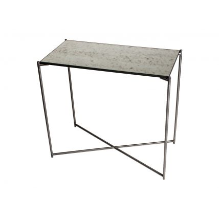 Small Console table ANTIQUED GLASS with GUN METAL FRAME  by Gillmore