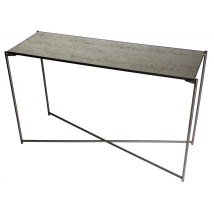 Large Console table ANTIQUED GLASS with GUN METAL FRAME  by Gillmore Space