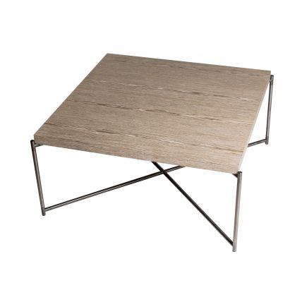 Square coffee table WEATHERED OAK with GUN METAL FRAME  by Gillmore Space
