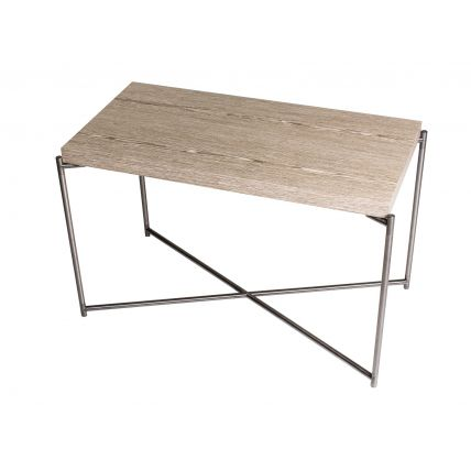 Rectangle side table WEATHERED OAK with GUN METAL FRAME  by Gillmore Space