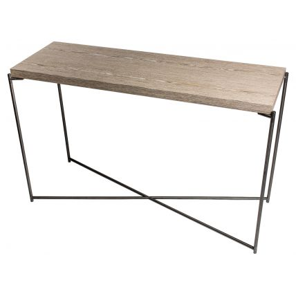 Large Console table WEATHERED OAK with GUN METAL FRAME  by Gillmore Space