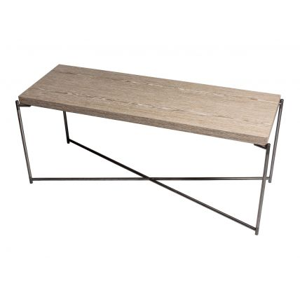 Large low Console table WEATHERED OAK with GUN METAL FRAME  by Gillmore Space