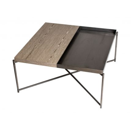 Square top coffee table WEATHERED OAK with GUN METAL TRAYS and GUN METAL FRAME  by Gillmore Space