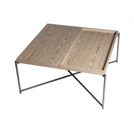 Square top coffee table WEATHERED OAK TRAYS and GUN METAL FRAME  by Gillmore Space