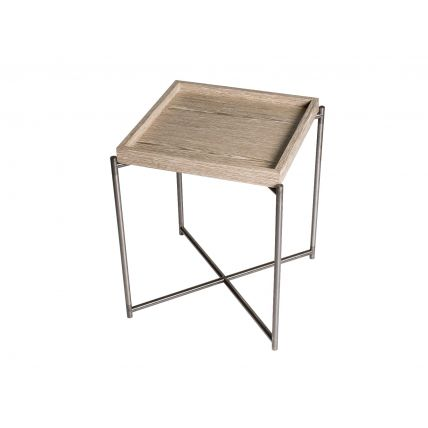 Square tray top side table WEATHERED OAK with GUN METAL FRAME  by Gillmore Space