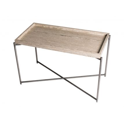 Rectangle tray top side table WEATHERED OAK with GUN METAL FRAME  by Gillmore Space