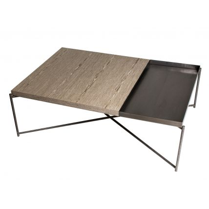 Rectangle coffee table WEATHERED OAK with GUN METAL TRAY and GUN METAL FRAME  by Gillmore Space