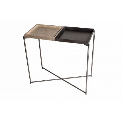 Small console table tray tops of WEATHERED OAK & GUNMETAL with GUN METAL FRAME  by Gillmore Space